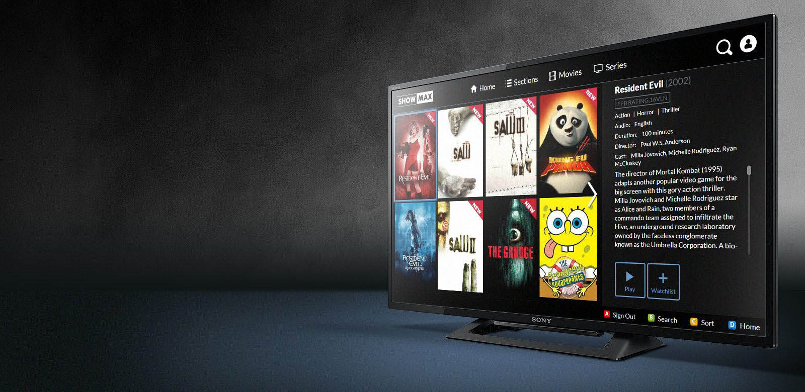 ShowMax pro Smart TV – mockup